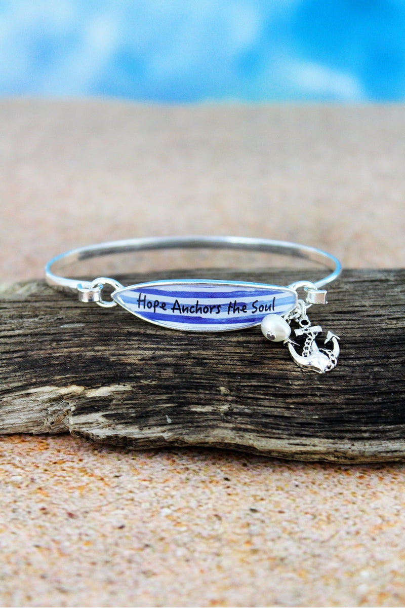 Blue Striped 'Hope Anchors The Soul' Surfboard with Silvertone Anchor Charm Bangle