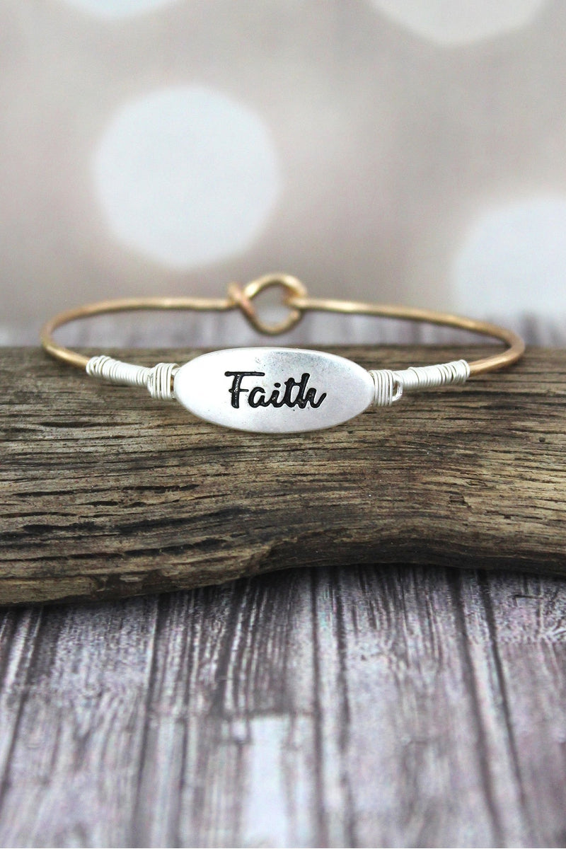 Silvertone and Goldtone 'Faith' Oval Bangle