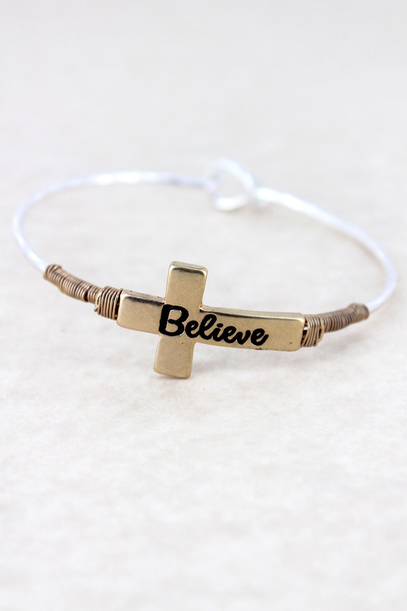 Goldtone and Silvertone 'Believe' Cross Bangle