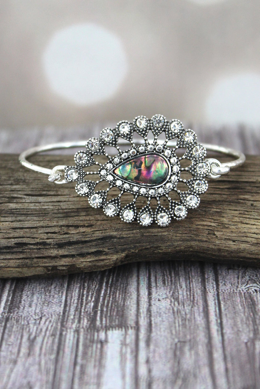 Abalone and Crystal Accented Silvertone Teardrop Bracelet