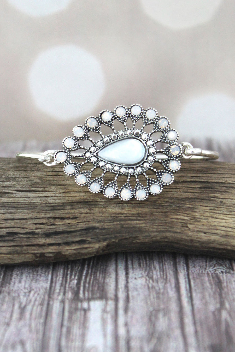 Mother of Pearl and Crystal Accented Silvertone Teardrop Bracelet