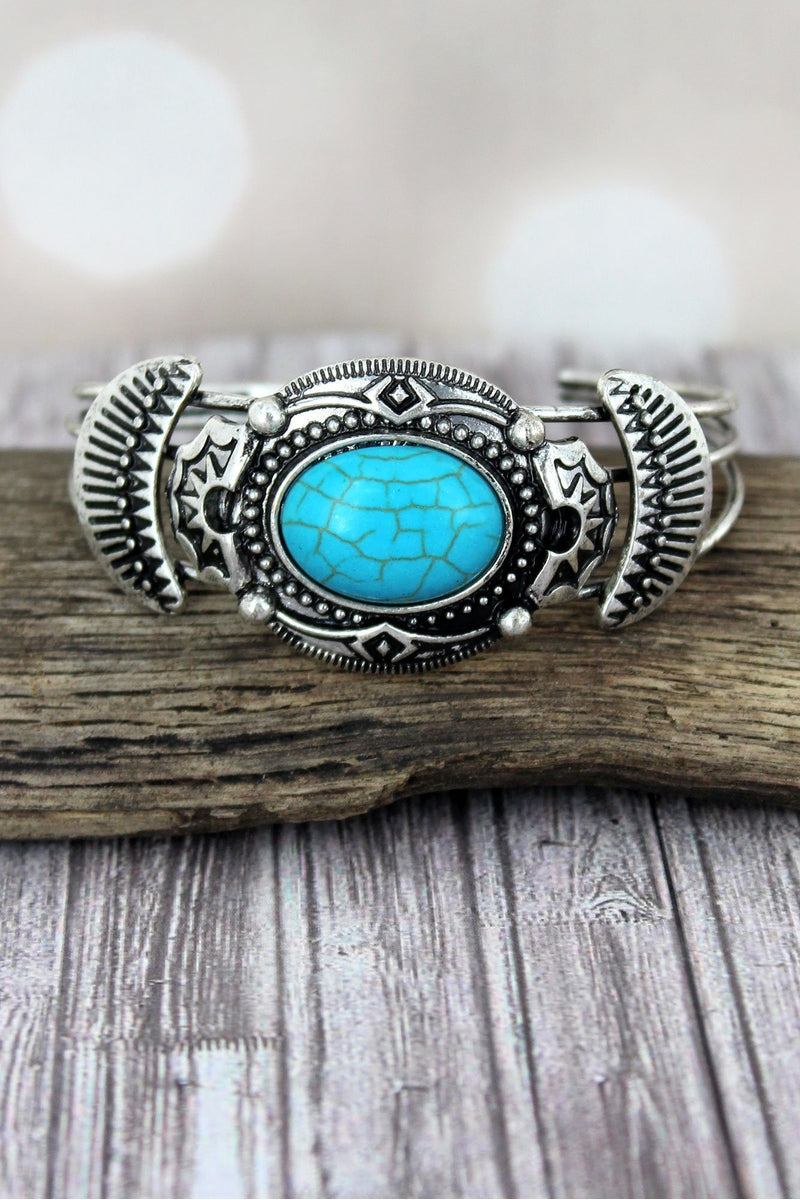 Western Turquoise and Burnished Silvertone Oval Cuff