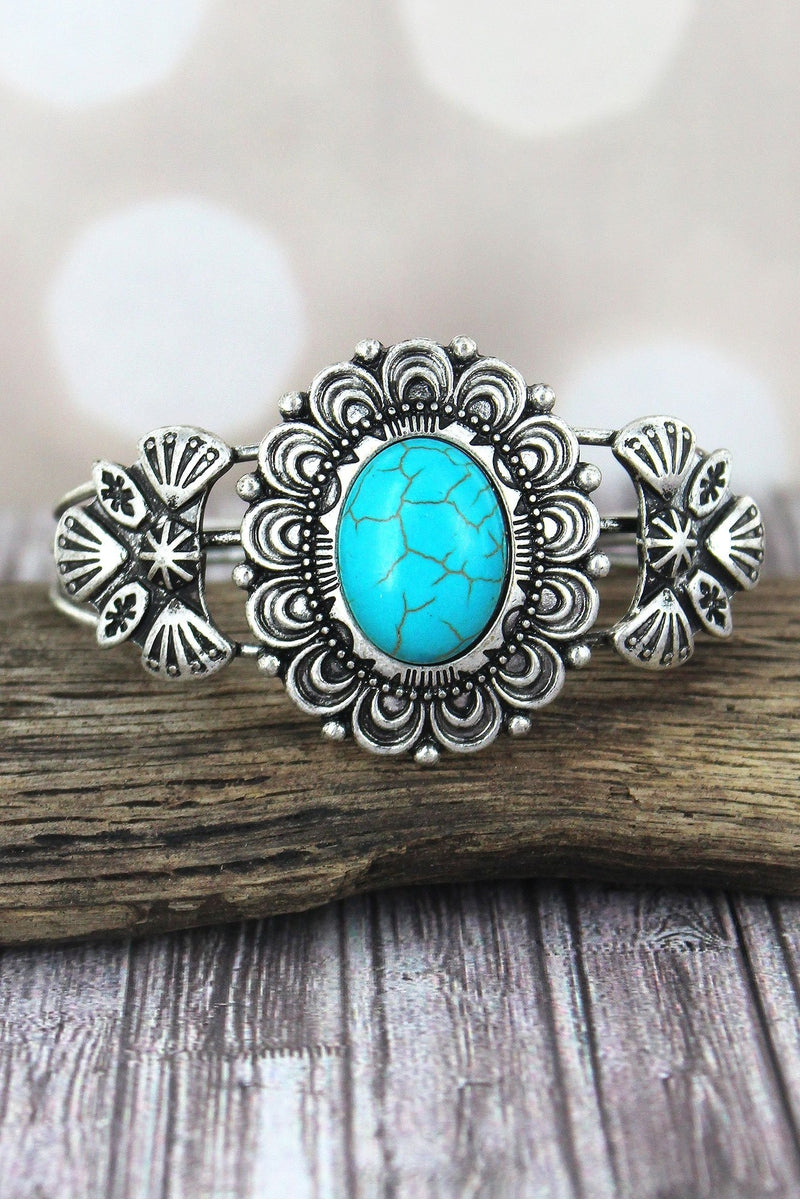 Western Turquoise and Burnished Silvertone Oval Flower Cuff
