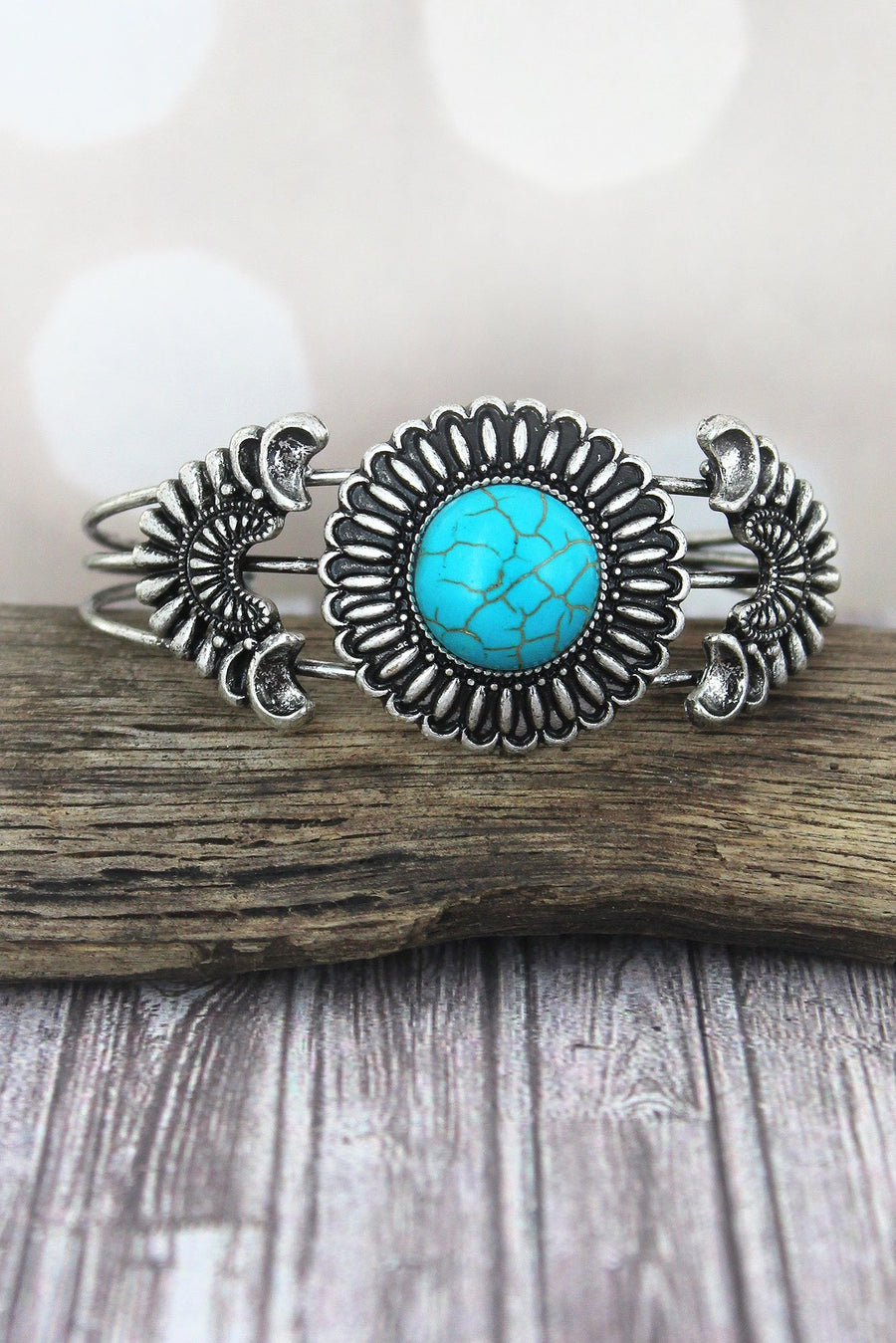 Western Turquoise and Burnished Silvertone Flower Cuff