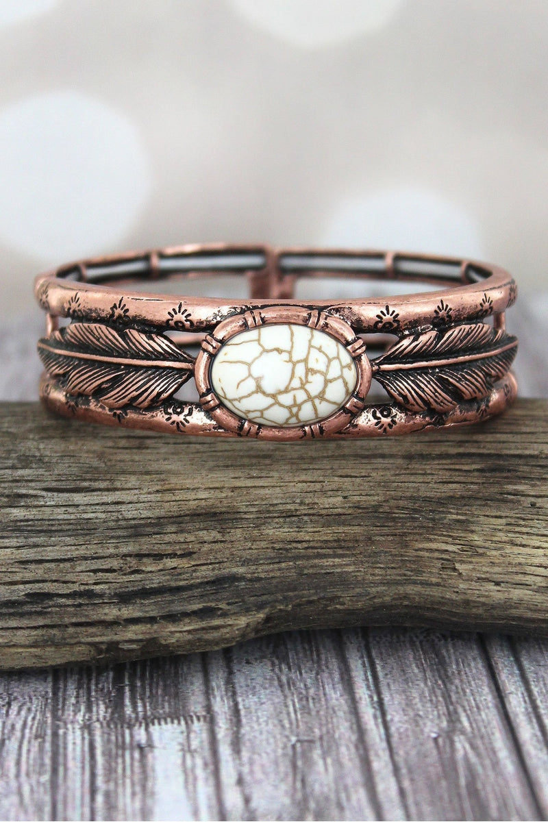 Western Oval White Stone and Burnished Coppertone Feather Stretch Bracelet