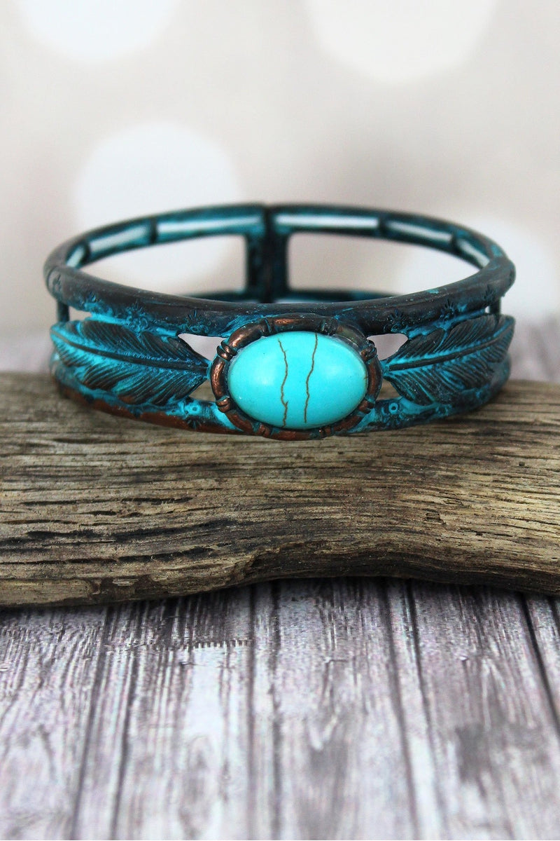 Western Oval Turquoise Stone and Patina Feather Stretch Bracelet