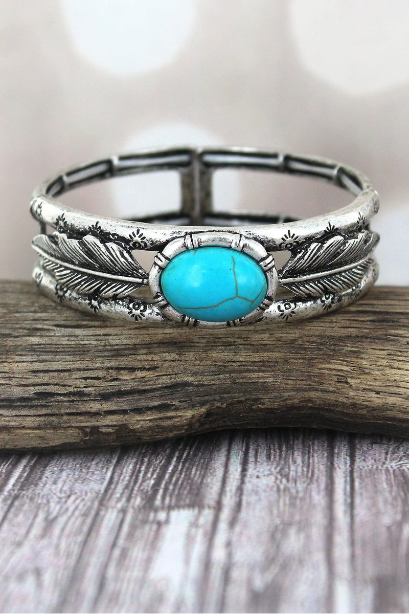 Western Oval Turquoise Stone and Burnished Silvertone Feather Stretch Bracelet