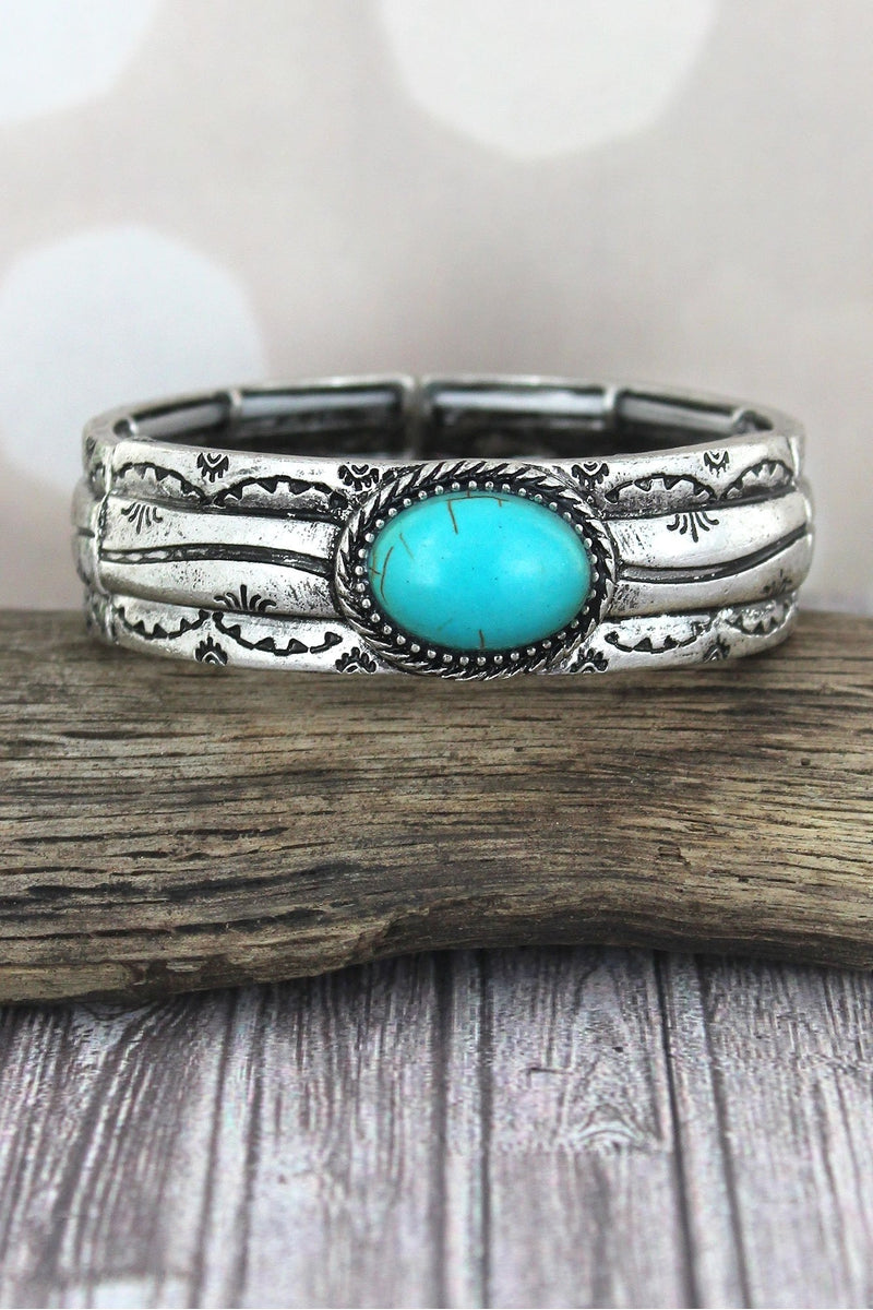 Western Oval Turquoise Stone and Burnished Silvertone Stretch Bracelet