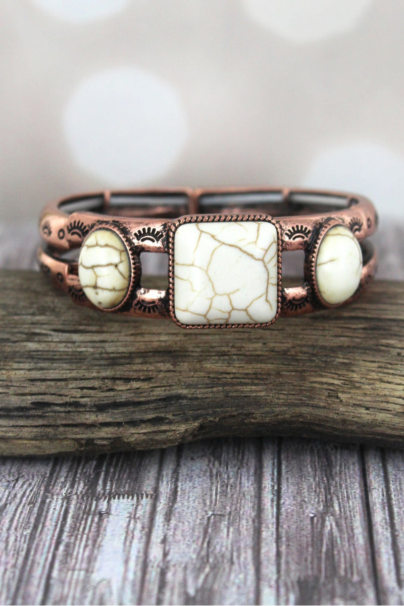 Western Triple Ivory Stone and Burnished Coppertone Stretch Bracelet