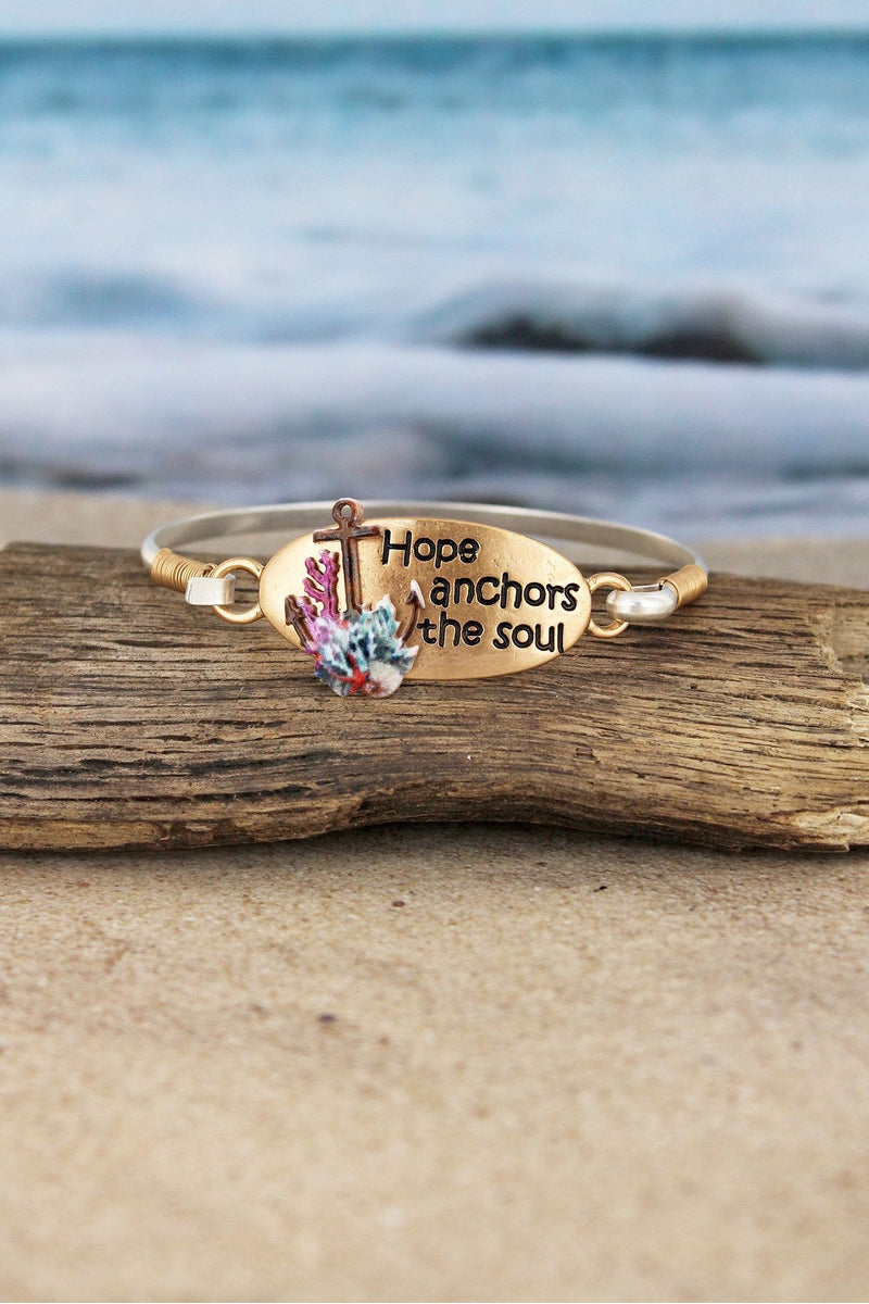 Goldtone and Silvertone 'Hope Anchors The Soul' Bracelet