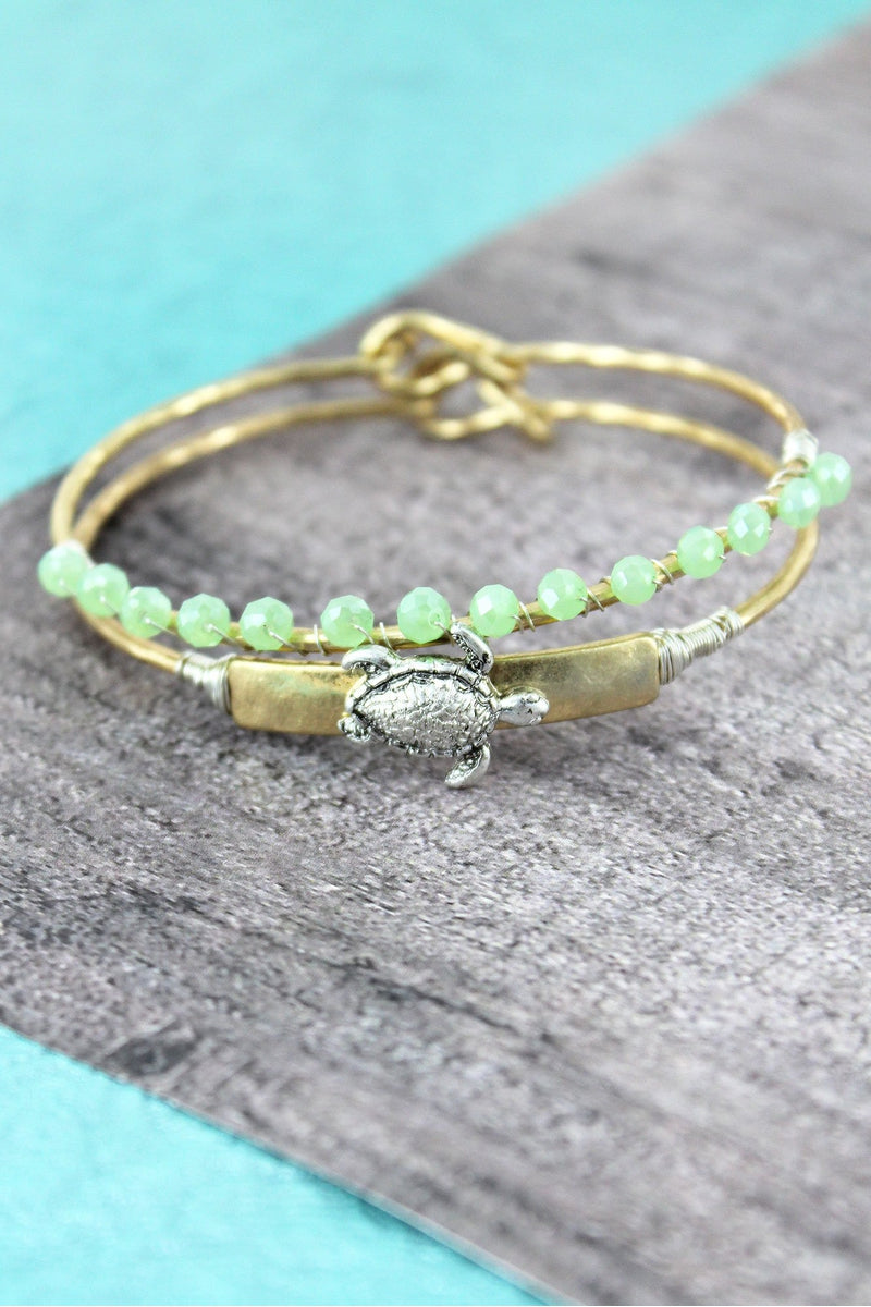 Goldtone with Silvertone Turtle and Mint Bead Bangle Set