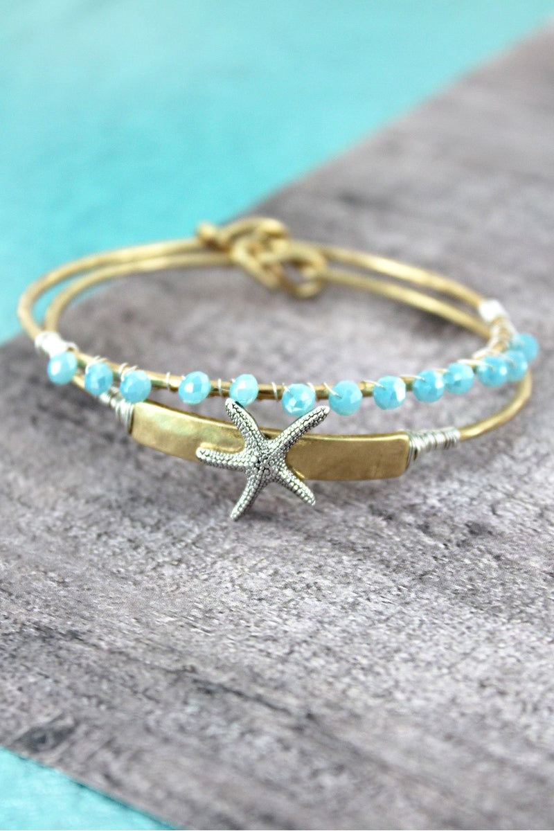 Goldtone with Silvertone Starfish and Blue Bead Bangle Set