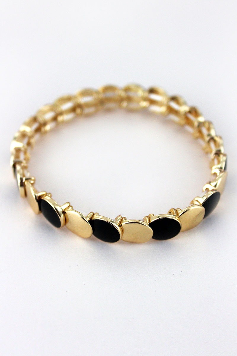 Goldtone and Black Overlapping Disk Bracelet