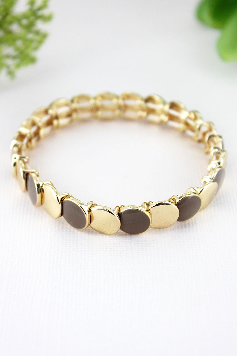 Goldtone and Taupe Brown Overlapping Disk Bracelet