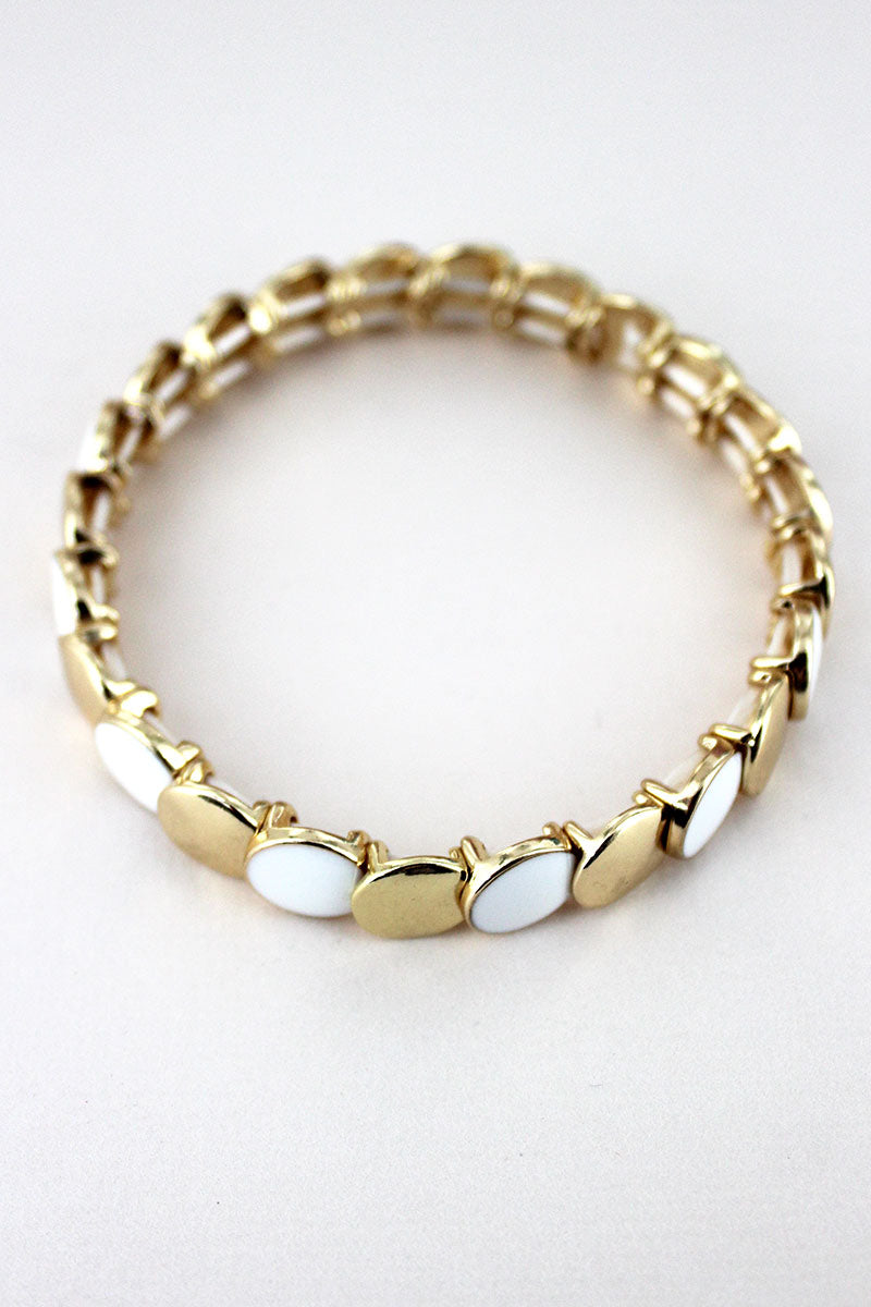 Goldtone and White Overlapping Disk Bracelet