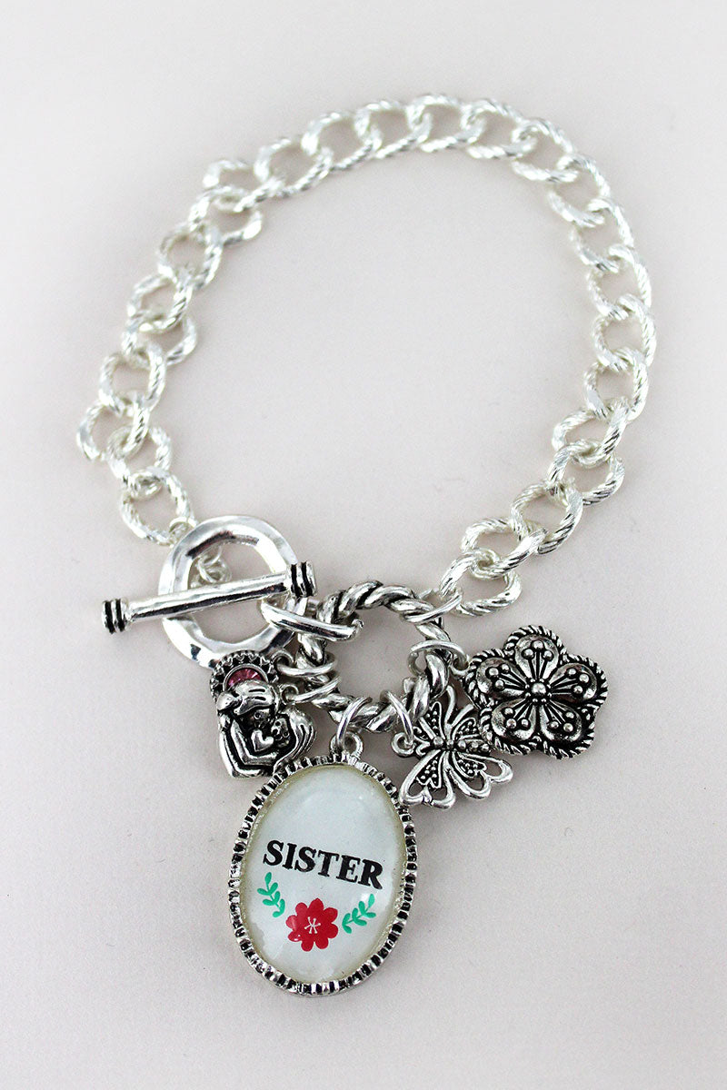 Silvertone 'Sister' Bubble Charm Cluster Toggle Bracelet