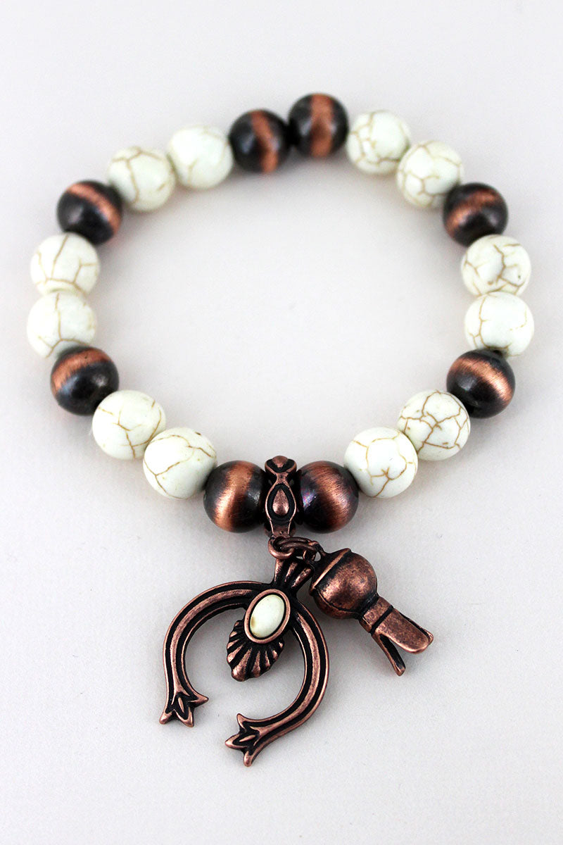 White and Copper Navajo Pearl Bracelet with Squash Blossom Charms