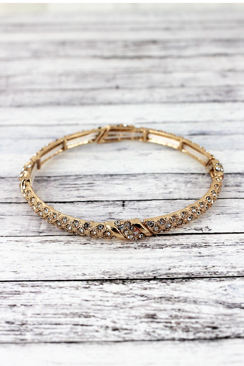 Crystal Pave Goldtone Twist Stretch Bracelet
