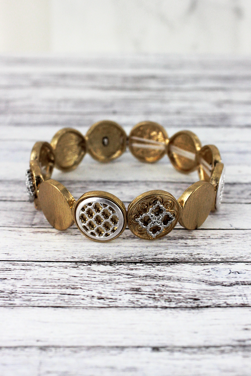 Worn Goldtone and Silvertone Moroccan Disk Stretch Bracelet