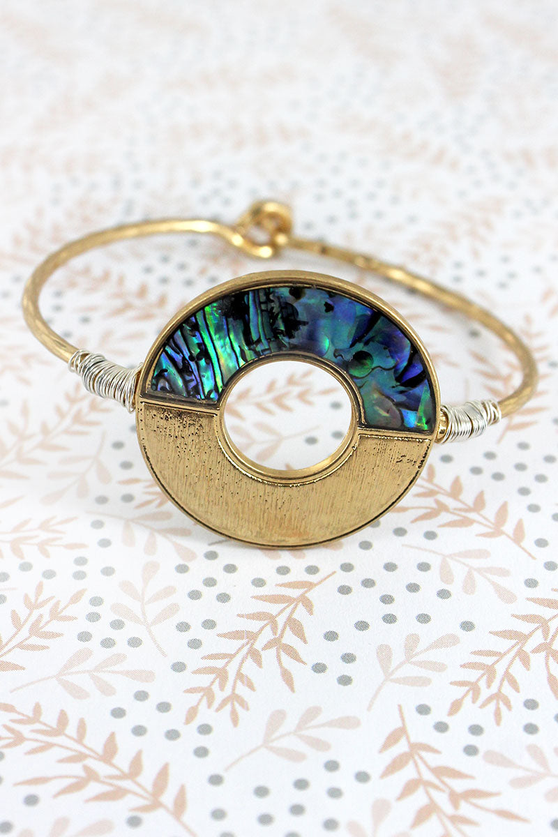 Goldtone and Abalone Split Circle Bangle