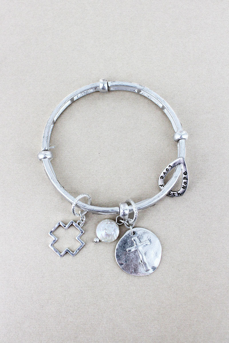 Worn Silvertone 'Faith Hope Love' Cross Charm Stretch Bracelet