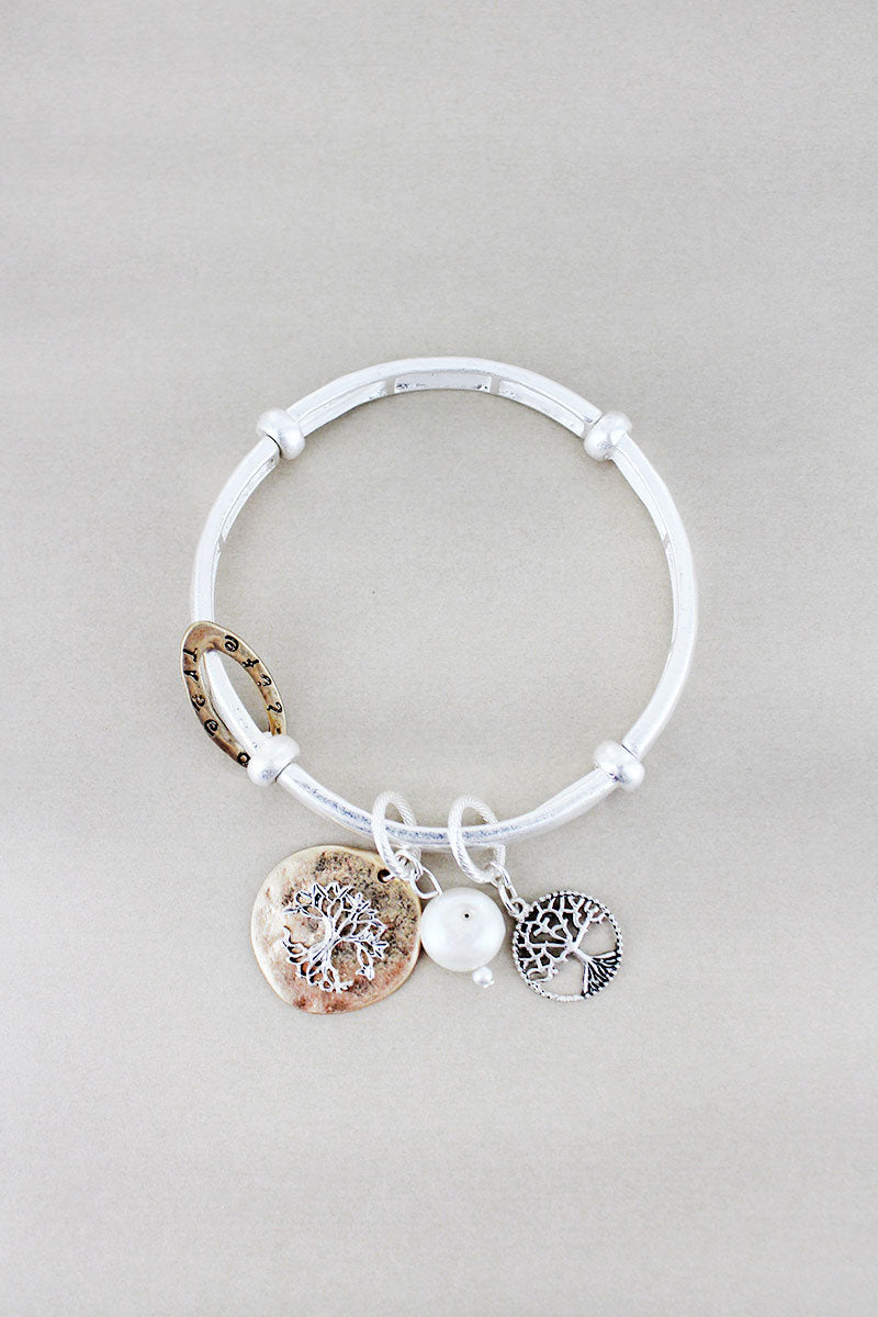 Worn Two-Tone Tree Of Life Charm Stretch Bracelet