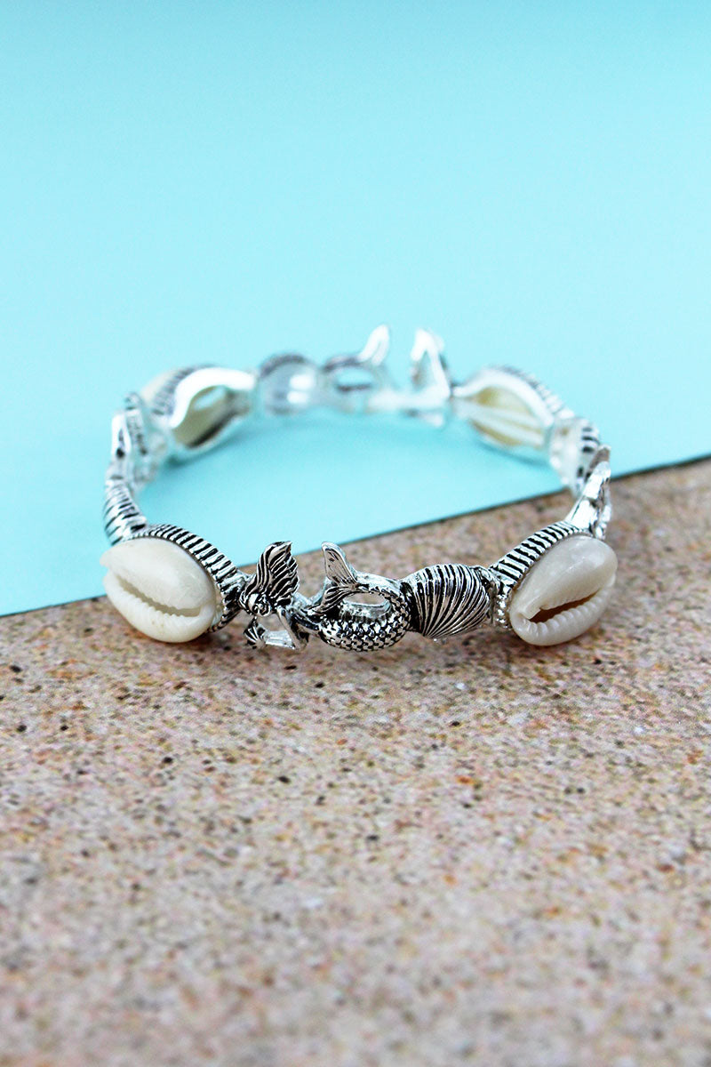 Cowrie Shell Accented Silvertone Mermaid and Shell Stretch Bracelet