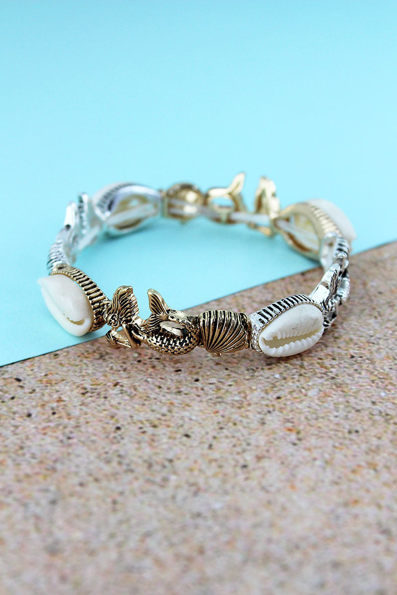 Cowrie Shell Accented Two-Tone Mermaid and Shell Stretch Bracelet