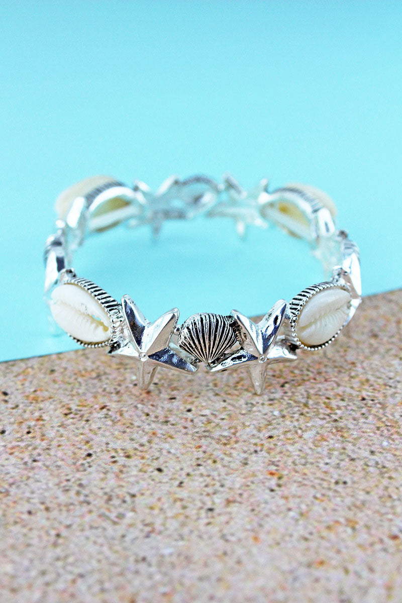 Cowrie Shell Accented Silvertone Starfish and Shell Stretch Bracelet