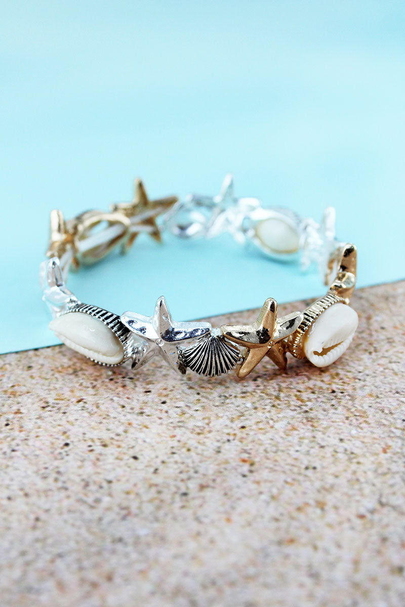 Cowrie Shell Accented Two-Tone Starfish and Shell Stretch Bracelet