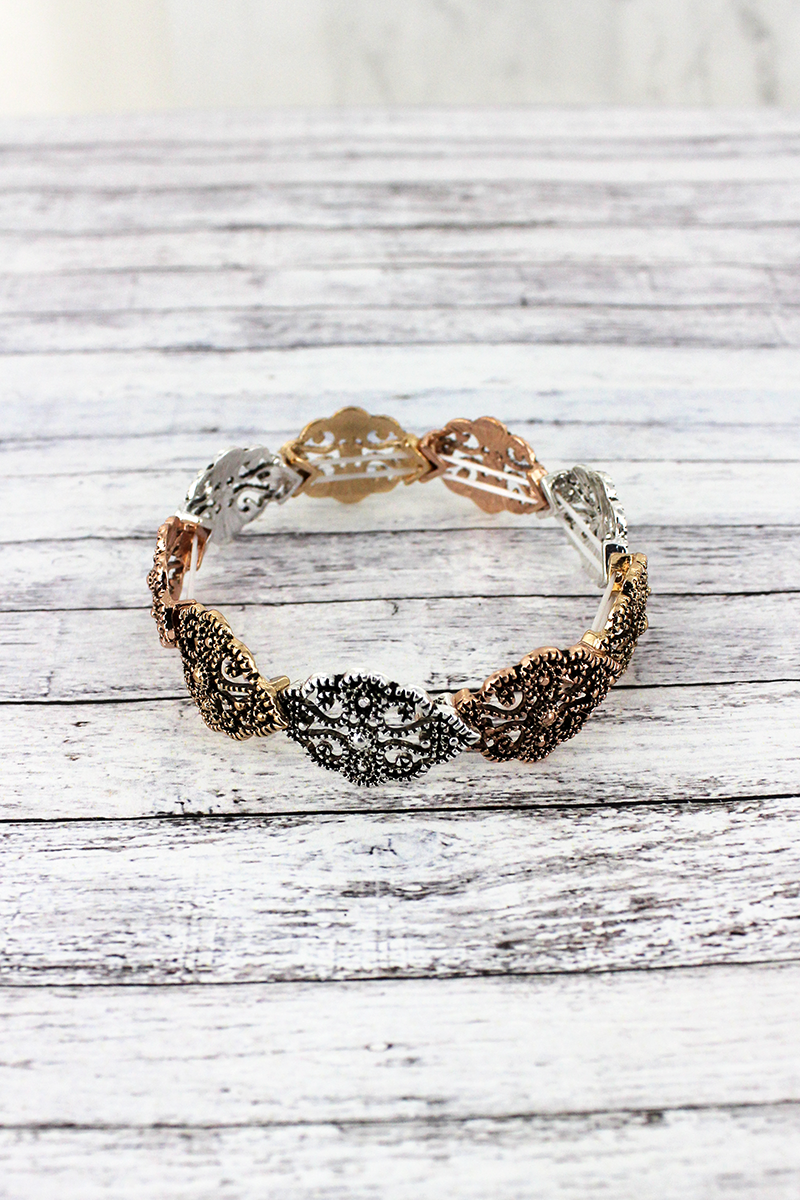Tri-Tone Filigree Overlapping Scalloped Marquise Stretch Bracelet