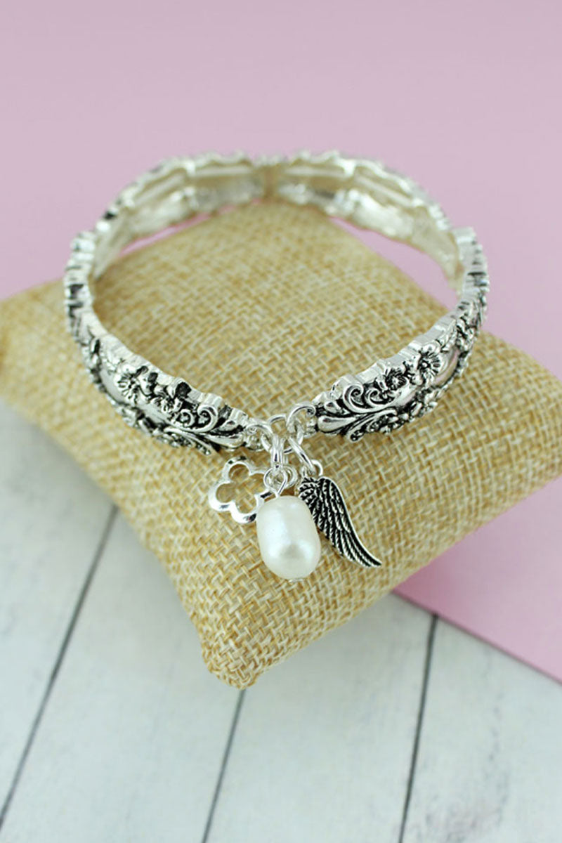 Silvertone Wing and Pearl Charm Spoon Bracelet