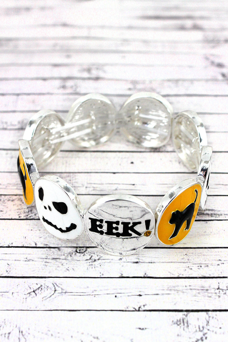 Cat, Jack Skellington, and 'Eek' Disk Stretch Bracelet