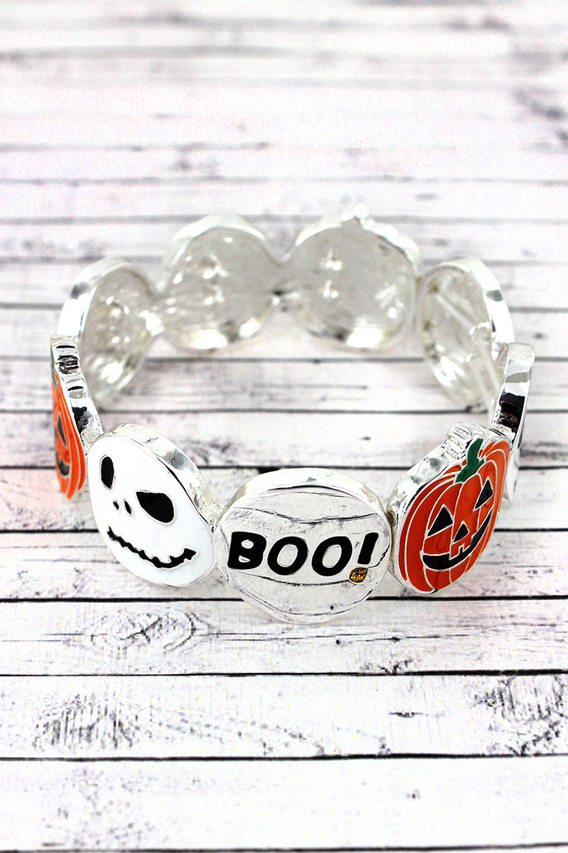 Jack-O'-Lantern, Jack Skellington, and 'Boo' Disk Stretch Bracelet