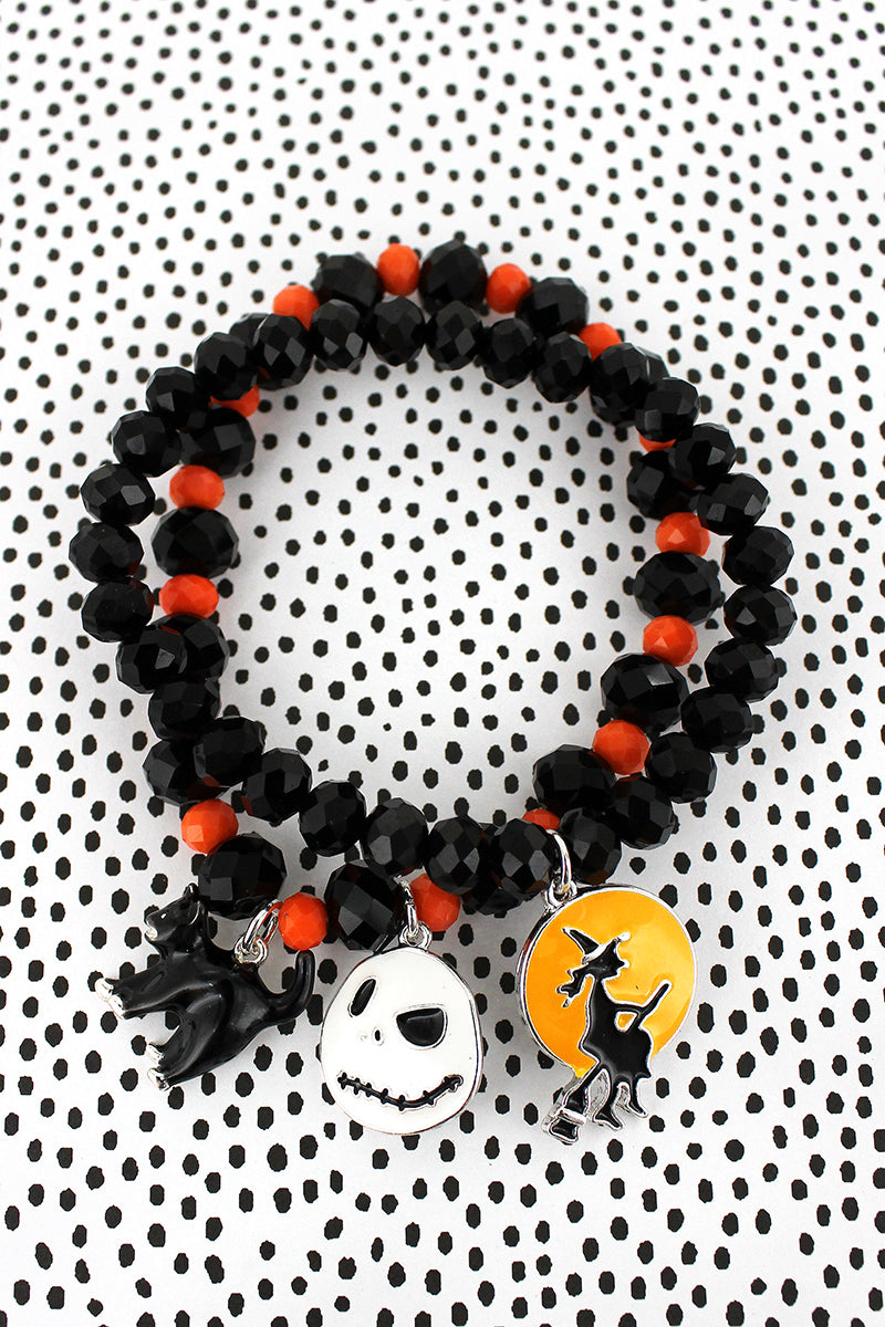 Witch, Cat, and Jack Skellington Charm Black and Orange Beaded Bracelet Set