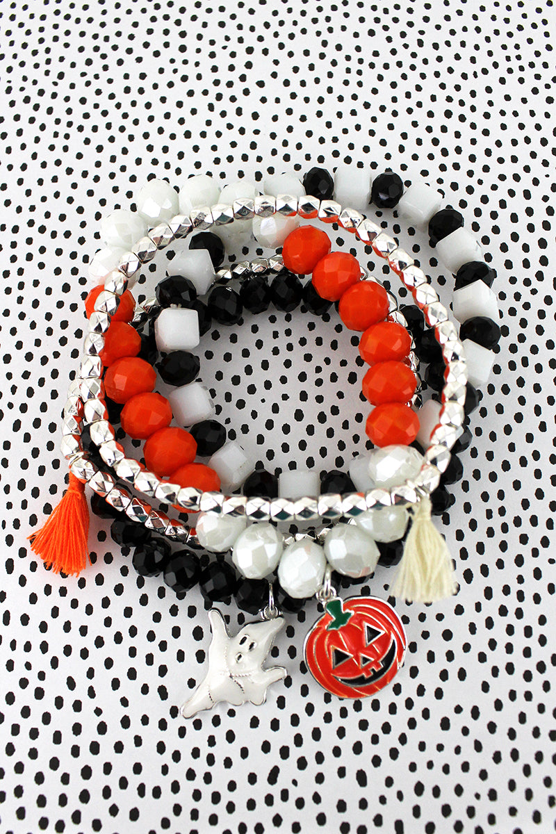 Ghost and Jack-O'-Lantern Charm Black and Orange Beaded Bracelet Set