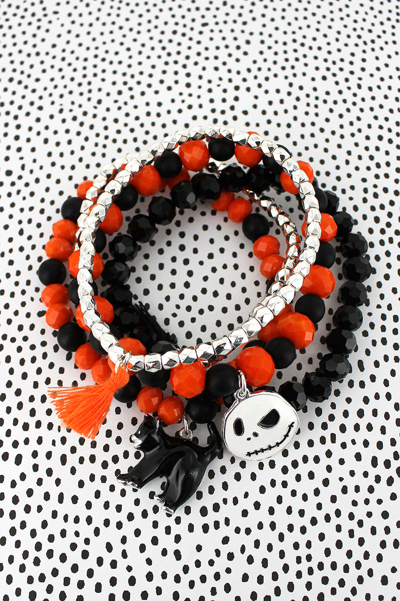 Cat and Jack Skellington Charm Black and Orange Beaded Bracelet Set
