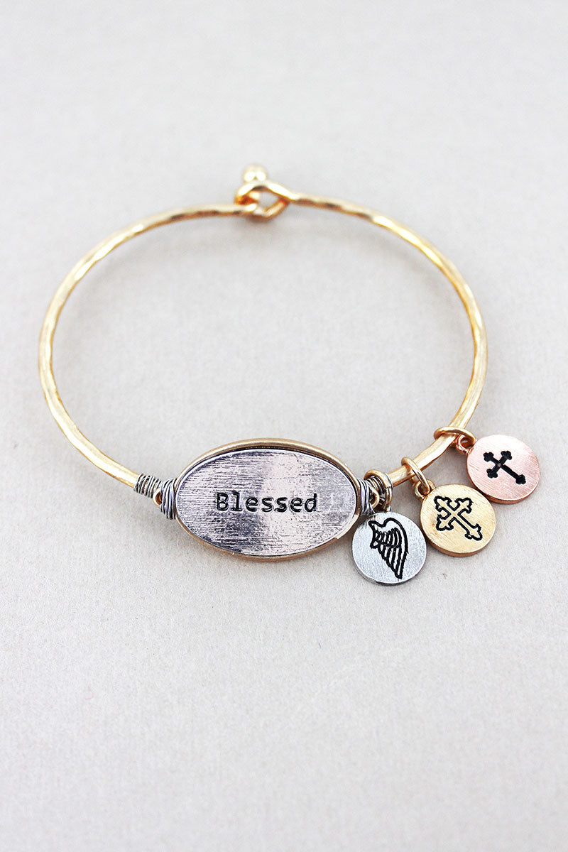 Goldtone with Silvertone 'Blessed' Oval Charm Bangle
