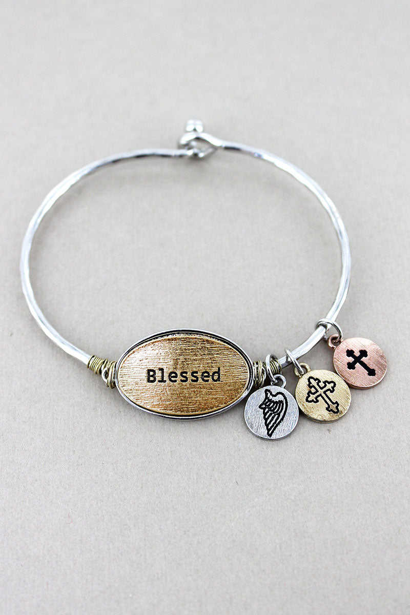 Silvertone with Goldtone 'Blessed' Oval Charm Bangle