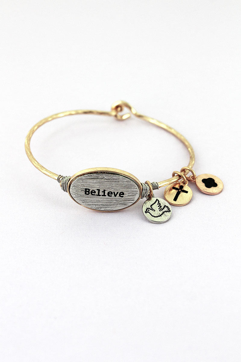 Goldtone with Silvertone 'Believe' Oval Charm Bangle