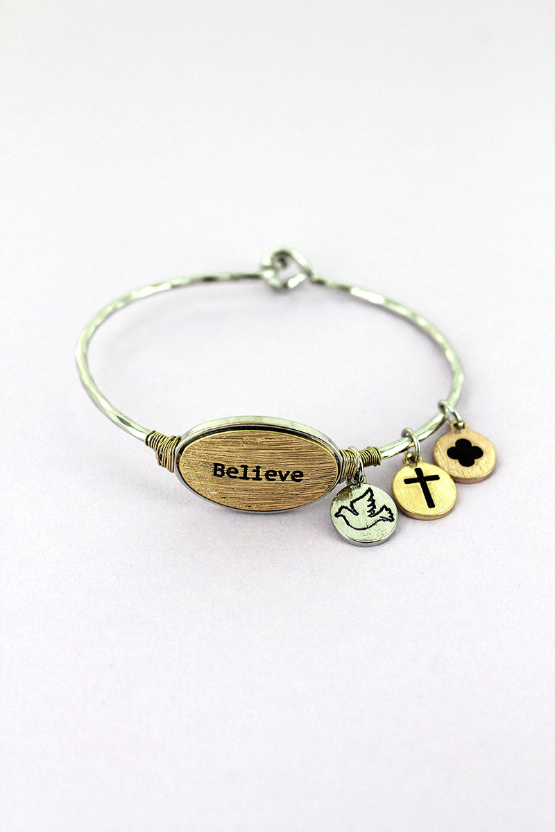 Silvertone with Goldtone 'Believe' Oval Charm Bangle