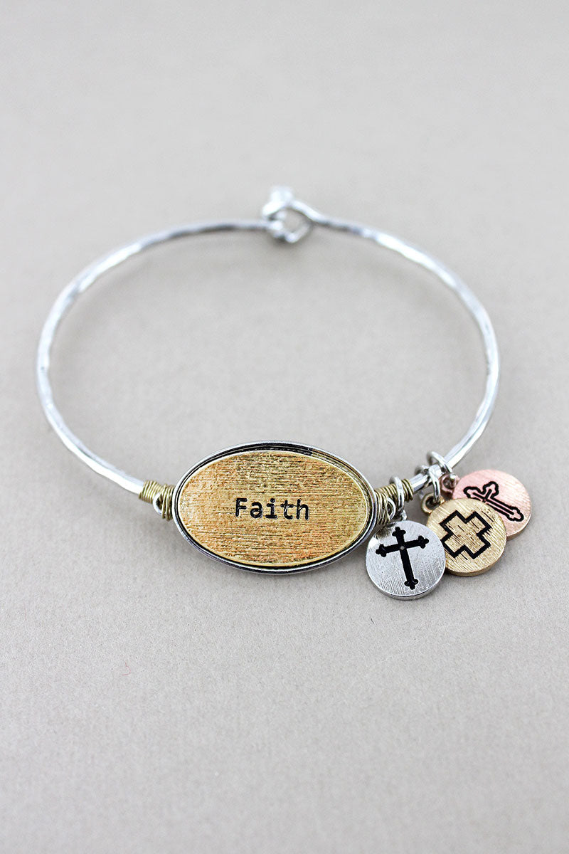 Silvertone with Goldtone 'Faith' Oval Charm Bangle
