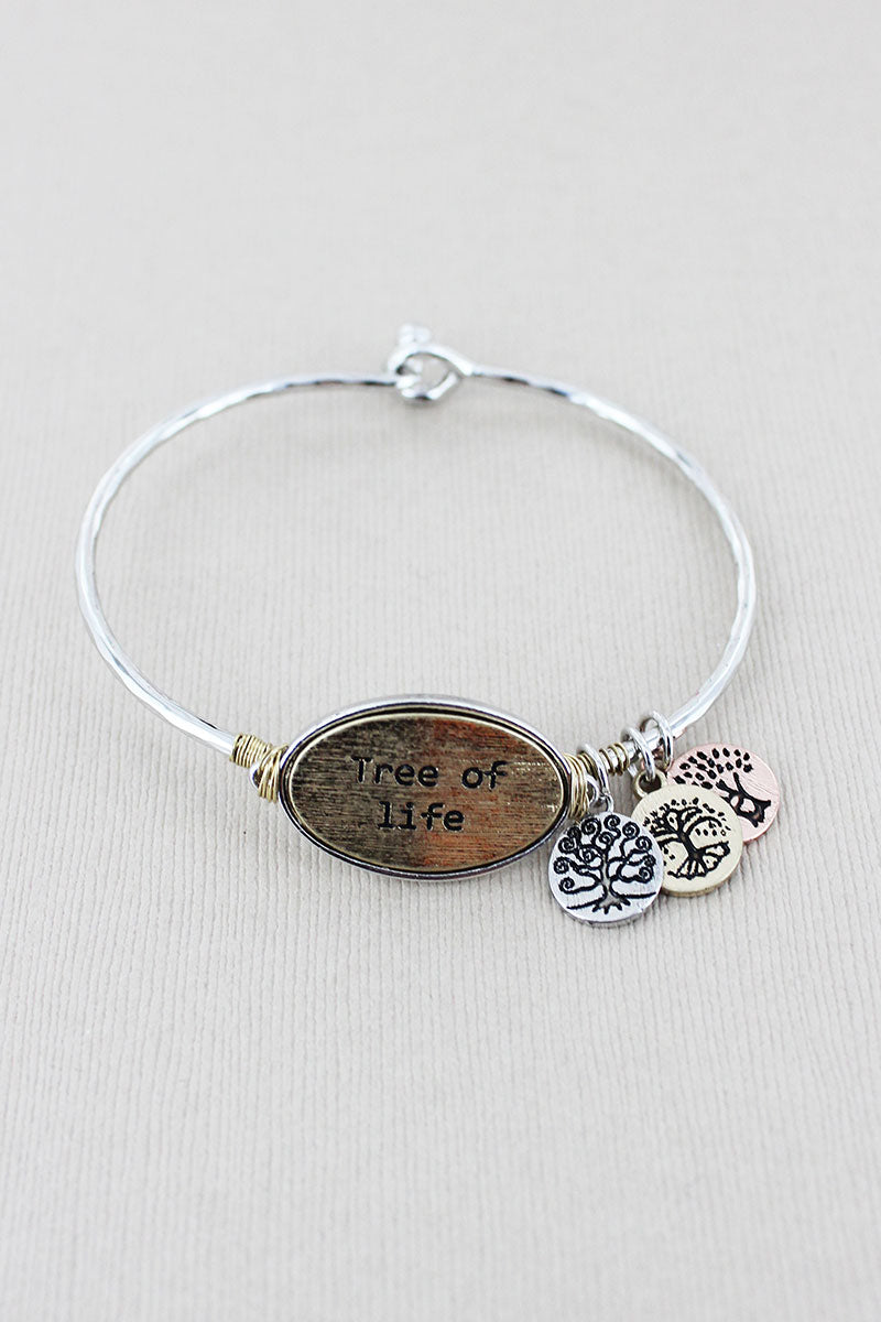 Silvertone with Goldtone 'Tree Of Life' Oval Disk Charm Bracelet