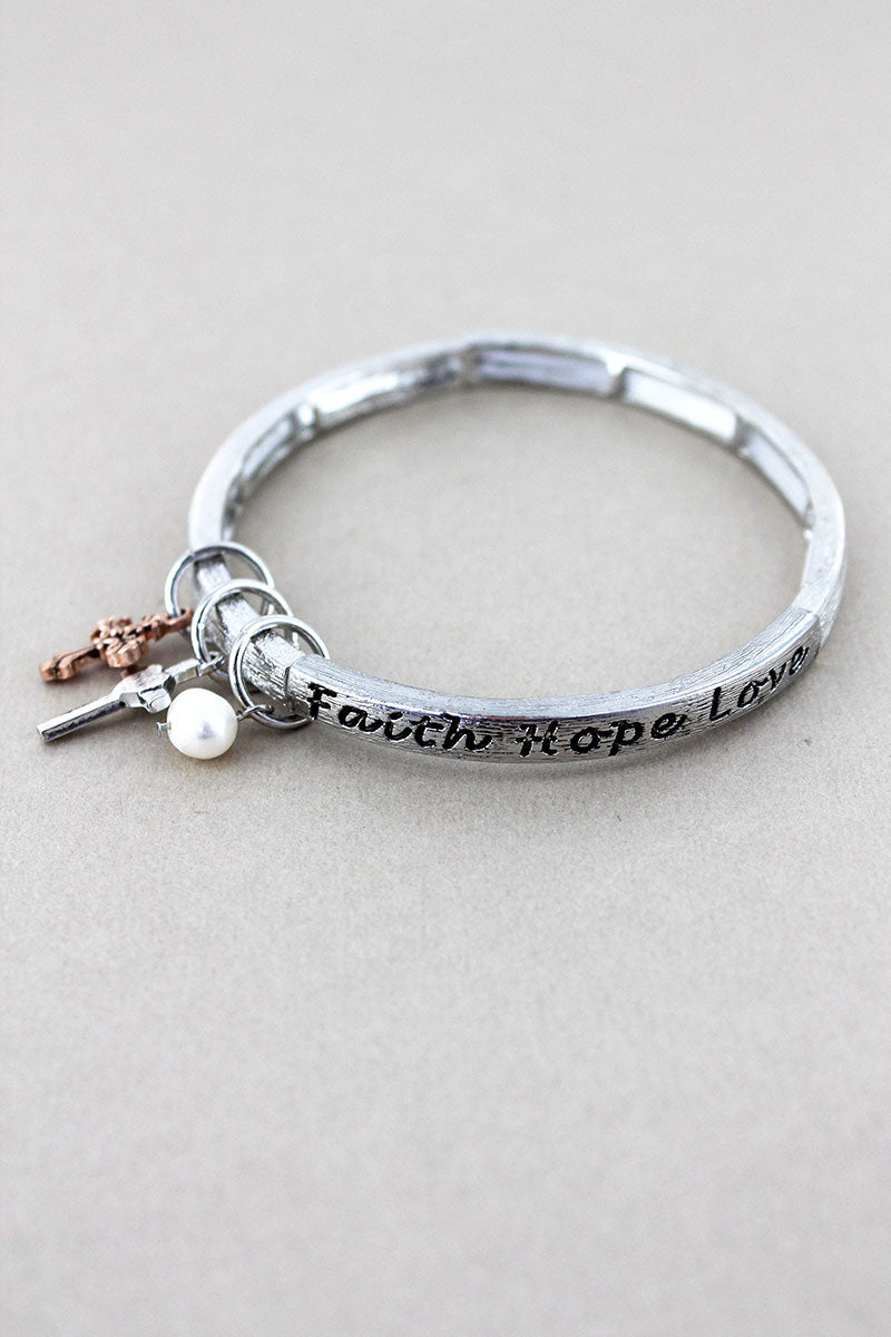 Brushed Silvertone 'Faith Hope Love' Charm Stretch Bracelet