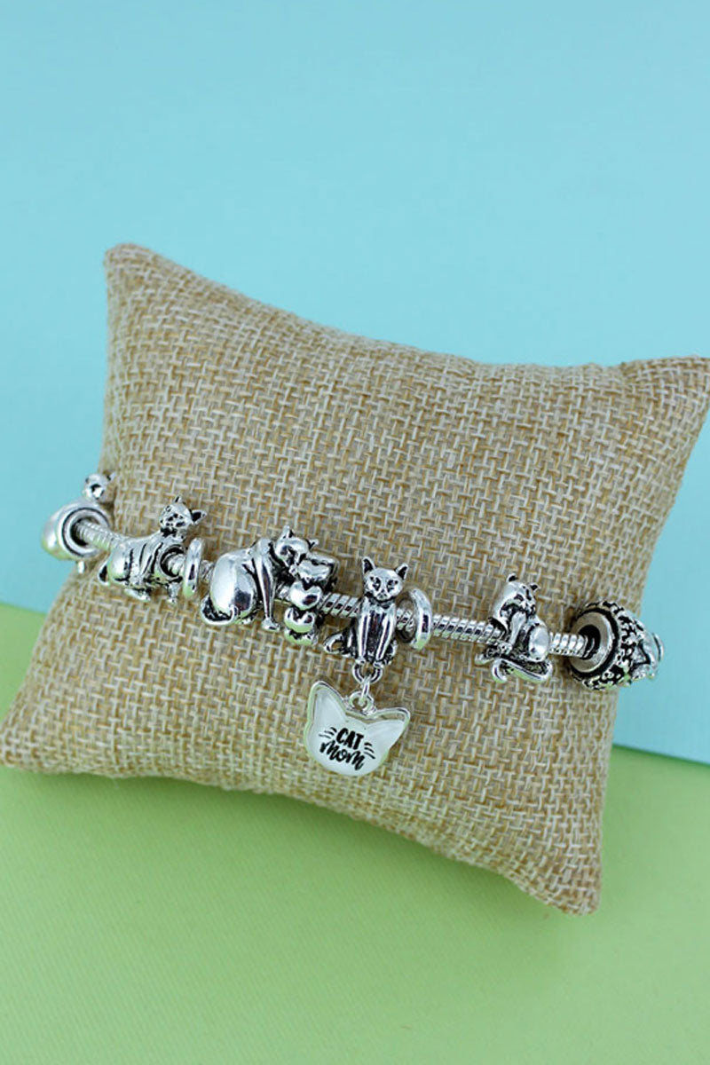 Cat Mom Silvertone Sliding Bead Charm Bracelet