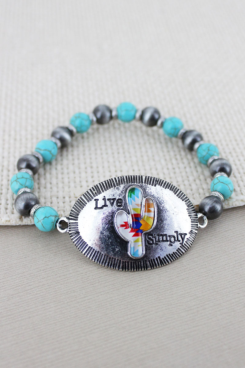 Silvertone Western Cactus 'Live Simply' Turquoise & Silver Navajo Pearl Bracelet