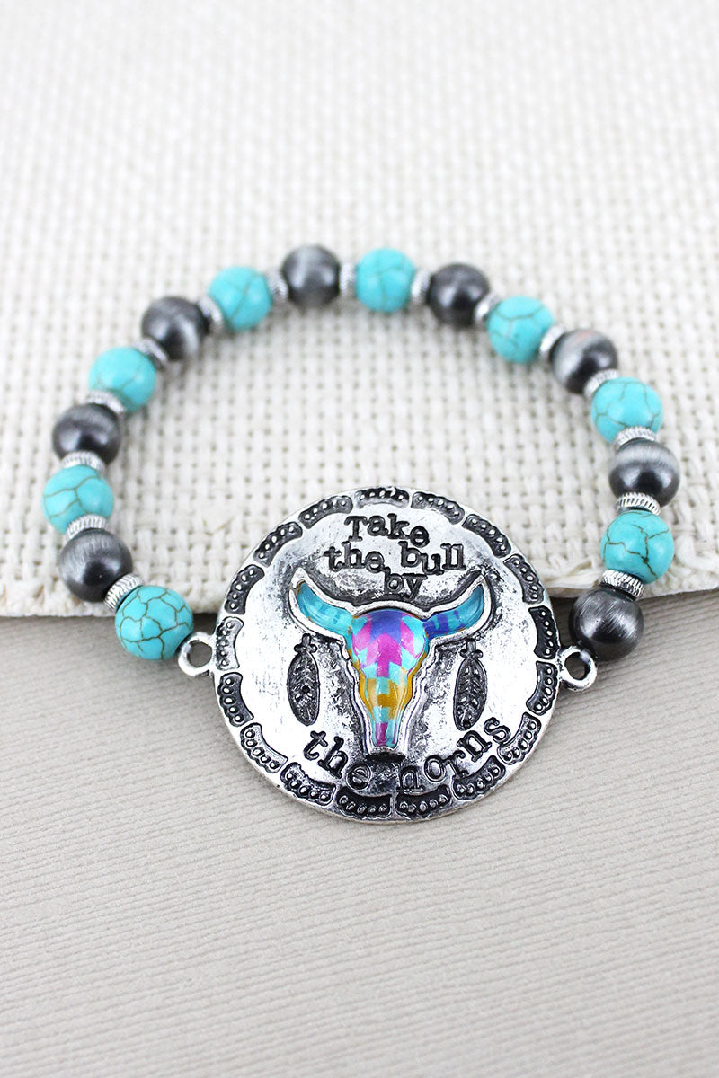 Silvertone Western Steer 'By The Horns' Turquoise & Silver Navajo Pearl Bracelet