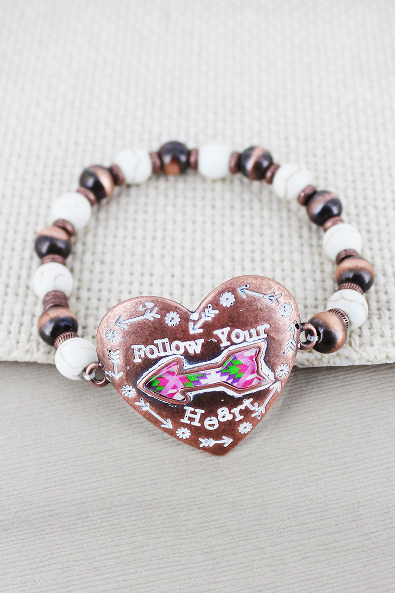 Two-Tone Western Arrow 'Heart' White & Copper Navajo Pearl Bracelet