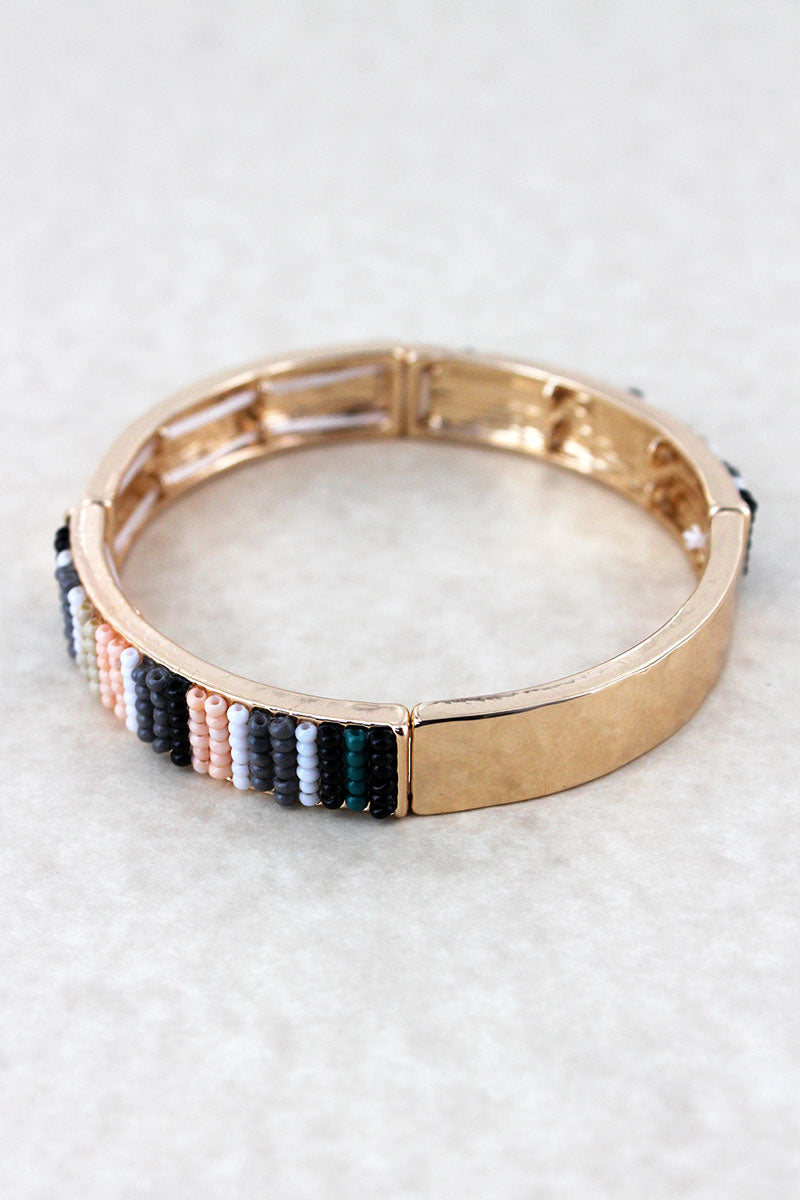 Black Multi-Color Seed Bead Bar Goldtone Stretch Bracelet