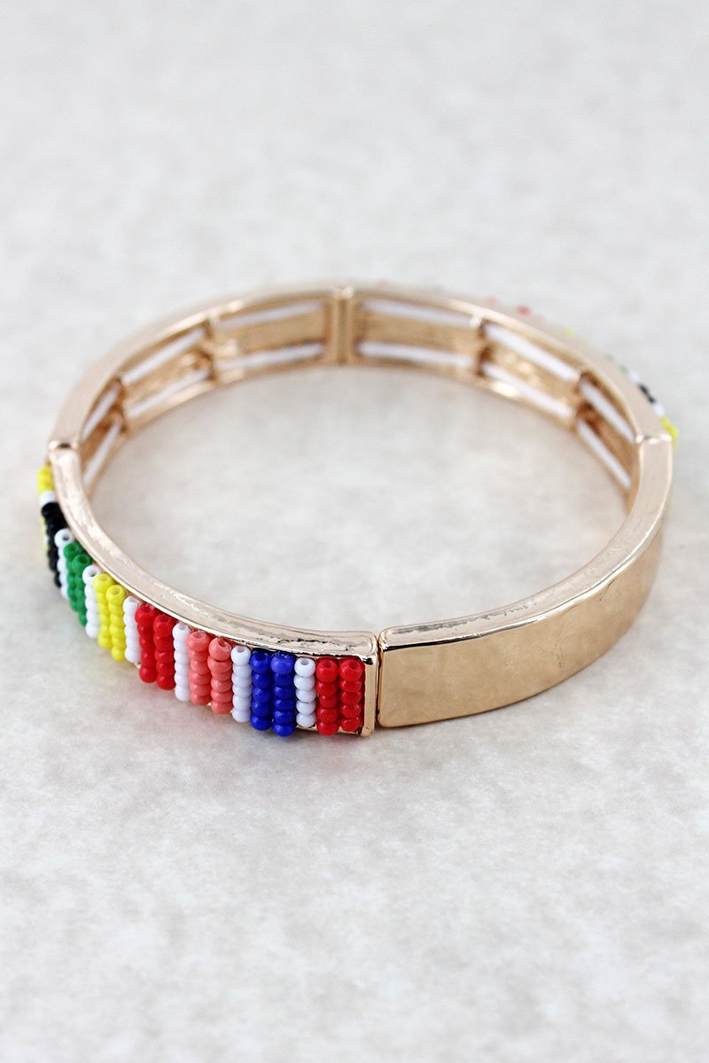 Rainbow Seed Bead Bar Goldtone Stretch Bracelet